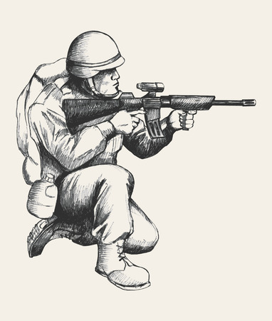 Sketch illustration of a soldier kneel down aiming a weapon 일러스트