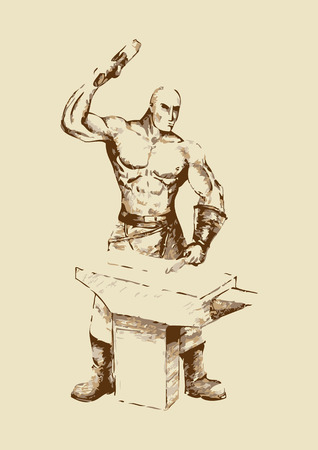 strong toughness: Abstract illustration of a blacksmith Illustration