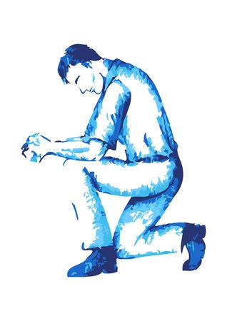 arrodillarse: Resumen figura masculina rezando Vectores