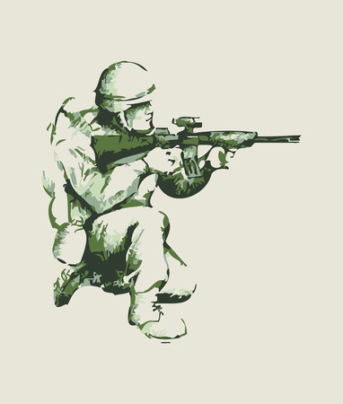 kneel down: Abstract illustration of a soldier kneel down aiming a weapon Illustration