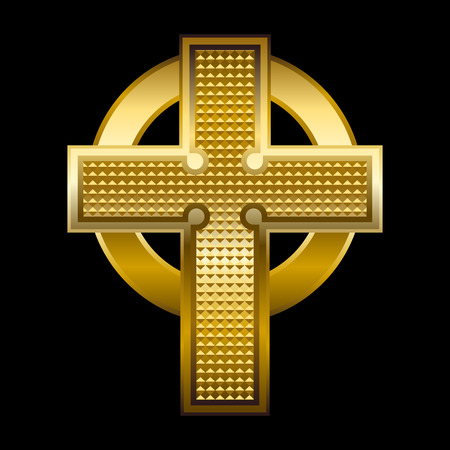 golden religious symbols: Vector illustration of a golden cross