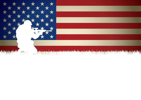 군인의 그림 무릎을 꿇고 미국 국기에 대 한 무기를 목표로