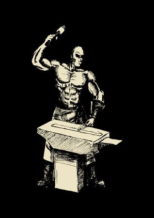 anvil: Sketch illustration of a blacksmith