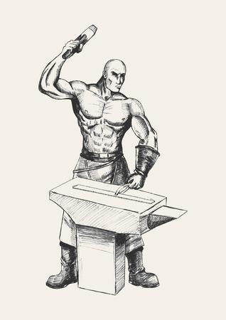 Sketch illustration of a blacksmith Vector