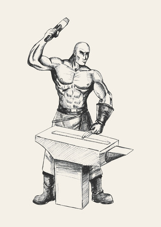 tough man: Sketch illustration of a blacksmith