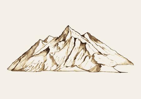 lijntekening: Schets illustratie van een berg