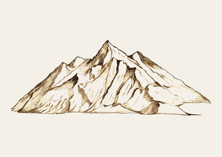 Sketch illustration of a mountain Çizim