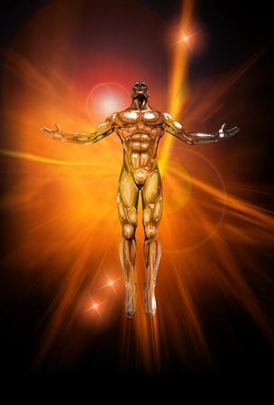 aura energy: An illustration of chrome man figure on abstract energy background Stock Photo