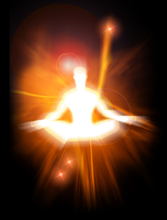 aura energy: Illustrazione del concetto di energia positiva e di illuminazione