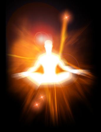 ser humano: Ilustraci�n del concepto de energ�a positiva y la iluminaci�n