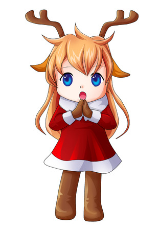 Cartoon illustration of character for Christmas, cute girl illustration