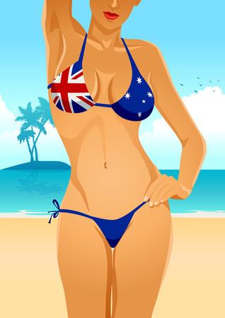 breast comic: Illustration of a sexy female body in Australian flag bikini