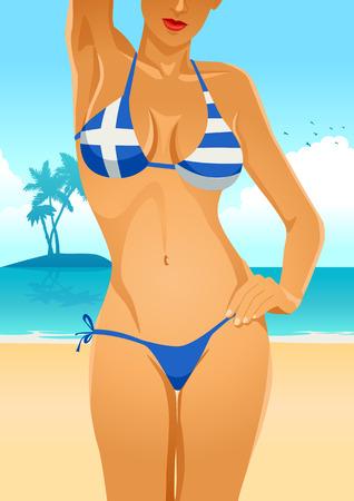 breast comic: Illustration of a sexy female body in Greek flag bikini