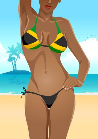breast comic: Illustration of a sexy female body in Jamaican flag bikini Illustration