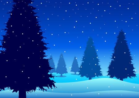 Vector illustration of pine trees on snowy hills Vector