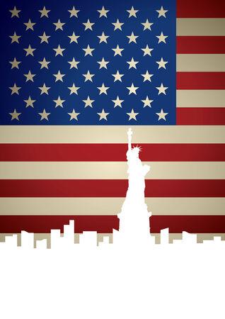new york skyline: New York City skyline on American flag background