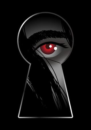 stalking: Illustration of eye looking through from keyhole Illustration