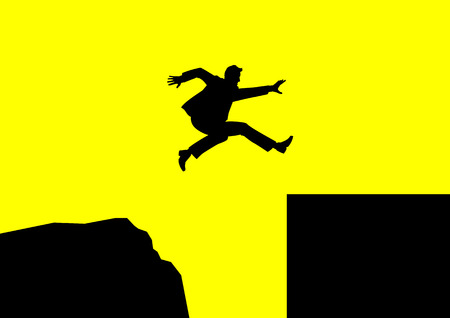 business jump: Man jumping over rough terrain to smooth terrain Illustration