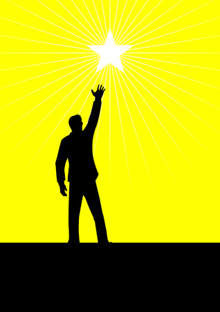 reach out: Symbol of a male figure reaching out for the star