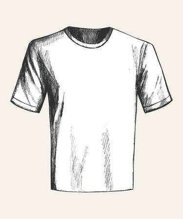 white t shirt: Sketch illustration of a white t shirt Illustration