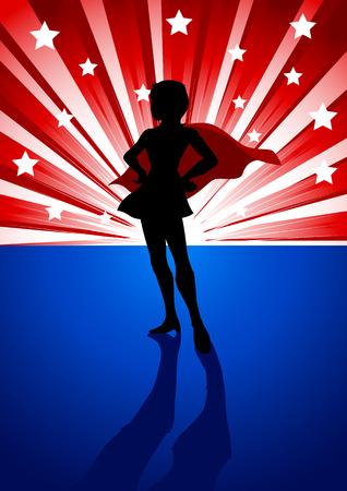 estrella caricatura: Un super hero�na de pie delante de explosi�n de la luz
