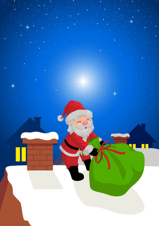Cartoon of Santa Claus dragging his present sack on roof top Vector