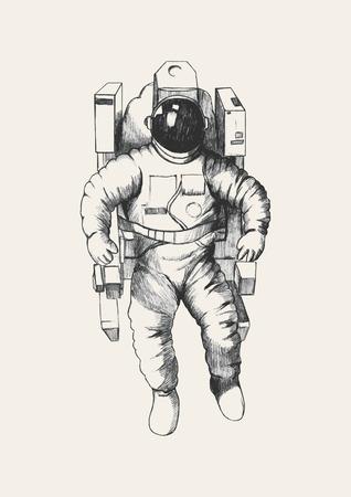astronauta: Ilustración Boceto de un astronauta