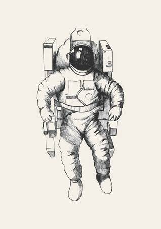 space suit: Sketch illustration of an astronaut