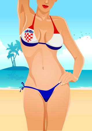 sexy breasts: Illustration of a sexy female body in Croatian flag bikini