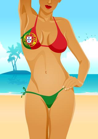 breast comic: Illustration of a sexy female body in Portuguese flag bikini Illustration