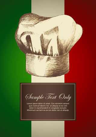이탈리아어 휘장 배경에 요리사 모자의 스케치 그림