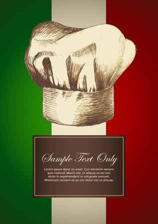 Schets illustratie van een chef-kok hoed op Italiaanse insignia achtergrond