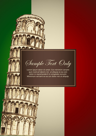 Sketch illustration of Pisa leaning tower on Italian flag color