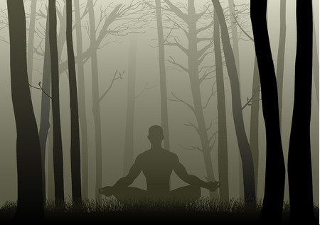 man meditating: Silhouette of a man figure meditating in the misty woods