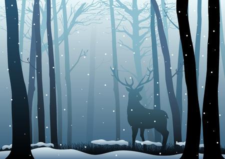 Silhouette of a deer in dark woods Vectores
