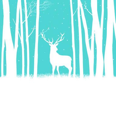 schneeflocke: Silhouette eines Rentiere in den W�ldern f�r Weihnachtsthema Illustration