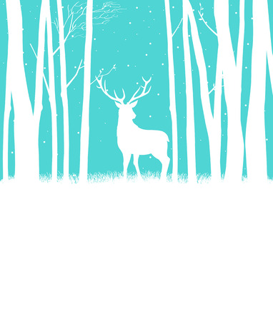 forest trees: Silhouette of a reindeer in woods for Christmas theme