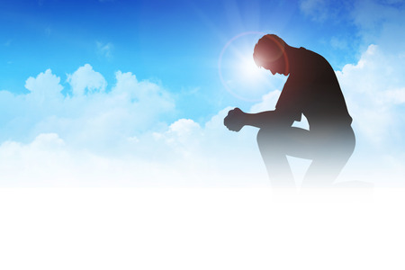 god's: Silhouette illustration of a man praying among the clouds