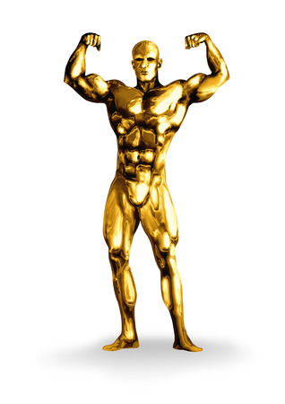 chrome man: Illustration of a golden man with muscular body