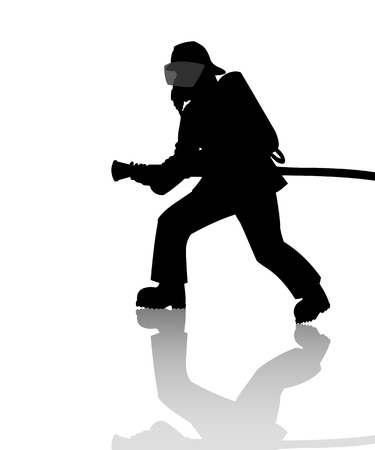 Silhouette of a firefighter in action Stock Illustratie