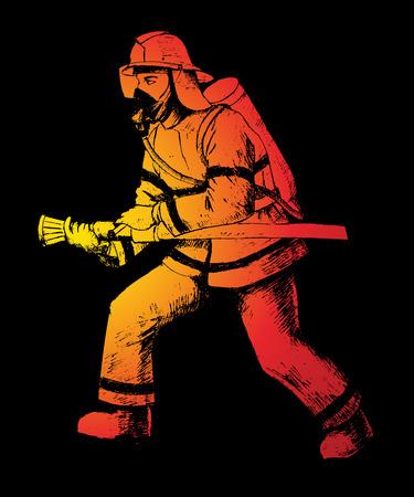 Sketch illustration of a firefighter Ilustração
