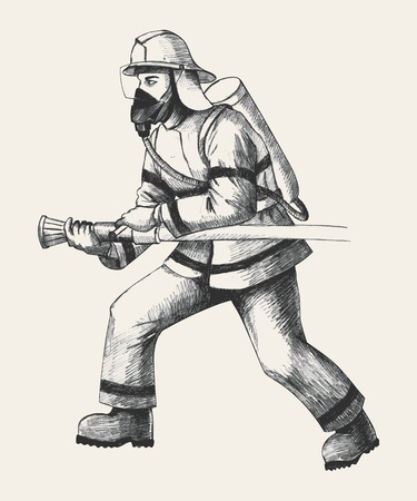 departments: Sketch illustration of a firefighter Illustration