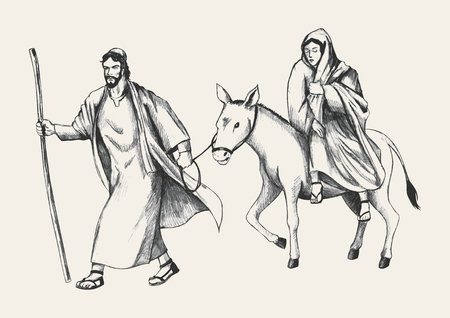 Sketch illustration of Mary and Joseph, journey to Bethlehem Vector