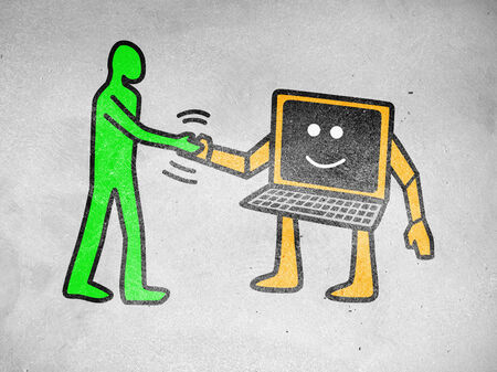 mutual help: Pop art of a human figure shaking hand with computer