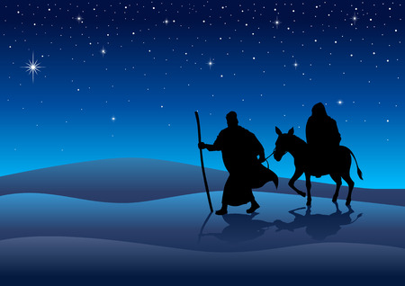long night: Silhouette illustration of Mary and Joseph, journey to Bethlehem