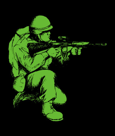 gi: Sketch illustration of a soldier kneel down aiming a weapon Illustration