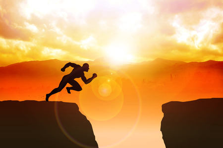 toward: Silhouette illustration of a male figure sprinting to jump the ravine