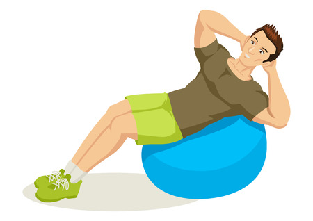 man working out: Cartoon illustration of a man exercising using fitness ball