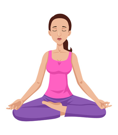 inner beauty: Cartoon illustration of a woman meditating