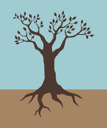 Illustration of a tree in vintage colour Illustration